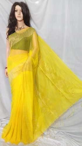 Yellow Shri Balaji Silk Saree With Zari Work, 6.3 m (with blouse piece), For Women