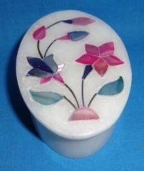 Handcrafted  Oval Shape Marble Jewelry Box