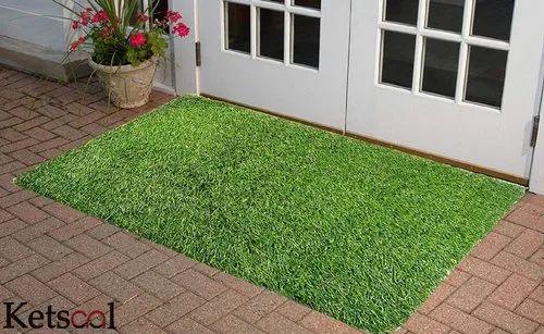 Ketsaal Home Artificial Grass Door Mat- Anti Skid Natural Green