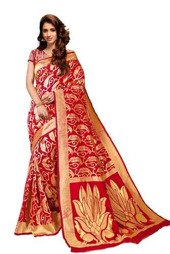 Embroidered Red Party Wear Silk Sarees