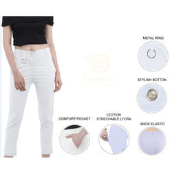 White Cotton Lycra Ring Pants