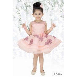 S And M Party Wear Girls Pink Frock