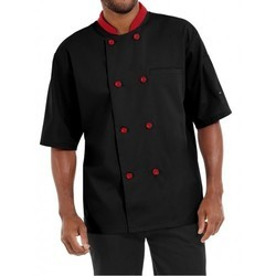 Chef Coat Black With Red Trimming Short Sleeve