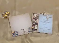 Wooden Wedding Invitation Card With Traditional Design Printed - 782JC