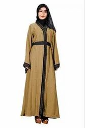 Women's Nida Front Open Style Islamic Dress Abaya Burqa With Chiffon Dupatta And Waist Belt