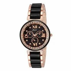 Jainx Analogue Round Black Dial Swiss-Pattern Watch For Women & Girls JW542