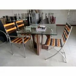 Shyam Furniture Glass and Stainless Steel SS Glass Top Dinning Table, for Hotel
