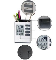 Digital Clock With Pen Stand