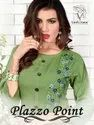 Palazzo Point Premium Rayon With Fancy Work Casual Wear Kurtis