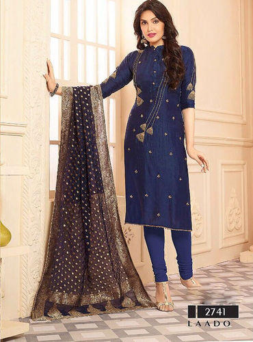 Party Wear A Line Fashionable Navy Blue Embroidery Designer Salwar