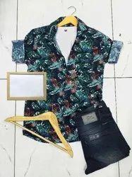 Cotton Collar Neck Twill Print Shirt