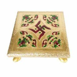 Small Rajwadi Chowki - Wooden Handmade Meenakari -6x6x2 Inch