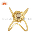 18k Yellow Gold Plated Silver Shiny Citrine Gemstone Ring Jewelry