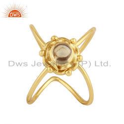 18k Yellow Gold Plated Silver Citrine Gemstone Ring Jewelry