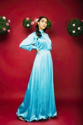 Noble Stand Collar Gown with Belt