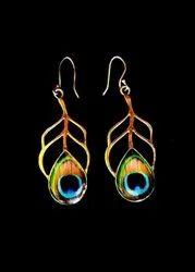 Brass Peacock Fern Design Earring