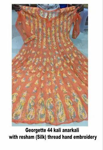 Indian Ethnic Wear Lucknawi Chikankari Kurta Georgette Anarkali Kurti with Stole