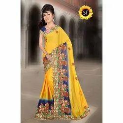 Shivam Fashion 1277 Pure Chiffon Sarees, With blouse piece, 5.5m