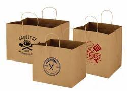 Handled Brown TAKE AWAY CARRY BAG, For Shopping, Bag Size: Custom