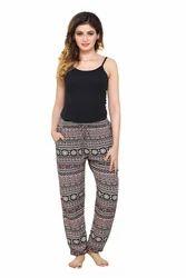 Rayon Printed Bottom Elasticated Pants, Size: 26.0
