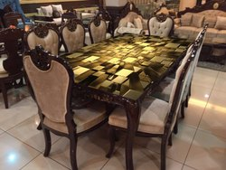 Eight Seater Dining Set with Top Printed Glass