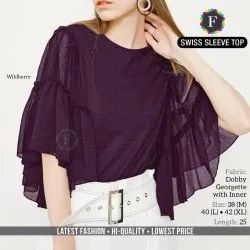 Printed Wild berry Ladies Swiss Sleeve Dobby Georgette Top, Size: M To XL