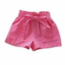 Cotton Casual Wear Kids Stretchable Plain Shorts