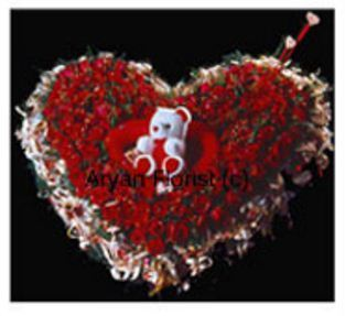 f350988f Heart Shaped Arrangement Of 100 Red Roses With Teddy Bear