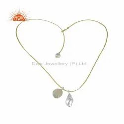 Pearl Ethiopian Opal Conch Charm 925 Fine Silver Necklace