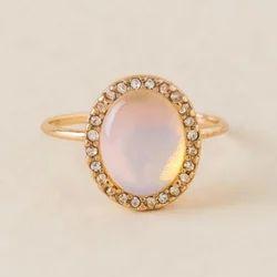 Beautiful Rose Quartz Natural Gemstone Handmade Beautiful White Topazio Gemstone Ring