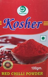 KOSHER FOODS 100 Gram RED CHILLY POWDER, Packaging Size: 100 g, Packaging Type: Packets