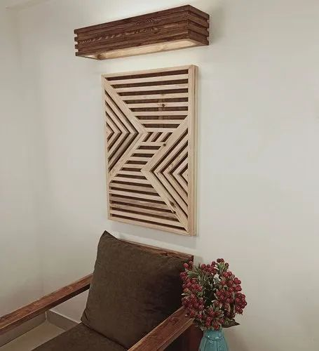 Symplify Interio Symmetric Wood Wall Art With LED Wall Light
