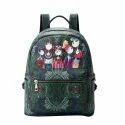 Female Kids Leather Green Backpack