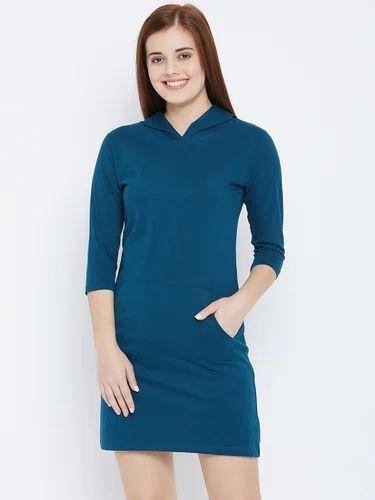 bd2cf4536681 Women's 100% Cotton V-Neck Petrol Green Plain Dress, Rs 250 /piece ...