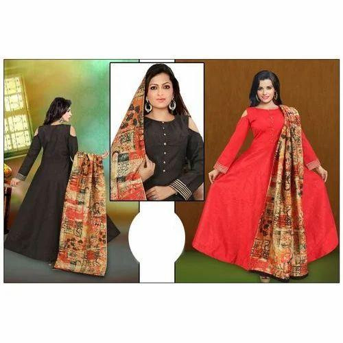 f28f0c7395 Ladies Shoulder Cut Designer Anarkali Suit, Size: M To XXL, Rs 1195 ...
