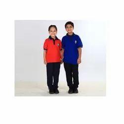 Orange, Blue Cotton Collar Neck Kids T Shirt