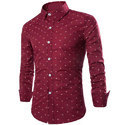 Men Cotton Maroon Party Wear Printed Shirt, Size: S-xl