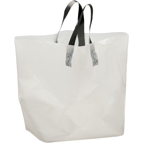 White Plain And Printed Plastic Shopping Bag, For Shopping