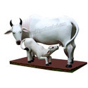 Milky White FRP Cow With Calf Statue