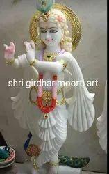 Shri Krishna White Marble Statue