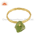 Natural Peridot Gemstone Womens Gold Plated Designer Silver Rings