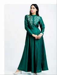 Ankle Length Green Raw Silk Golden Embroidery Long Dress
