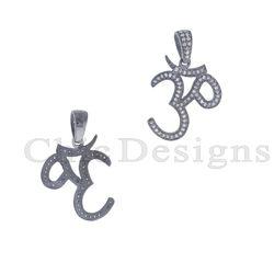 Pave Diamond Om Charm Pendant
