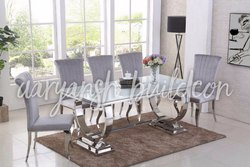 Silver Rectangular Steel Dining Table For Hotel, Material Grade: 304