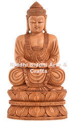 Buddha Meditating White Wood Carving Statue
