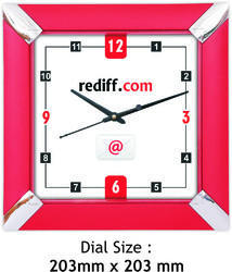 Red Plastic Sqaure Shaped Clocks, Size: 203 X 203