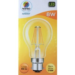 8 W Glass Wipro Garnet Filament Decorative LED Bulb, Base Type: B22