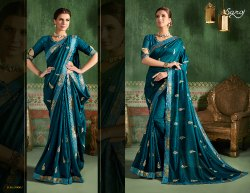 6901a226eb Printed Georgette Saree - Fancy Navy Blue Party Wear Sarees ...