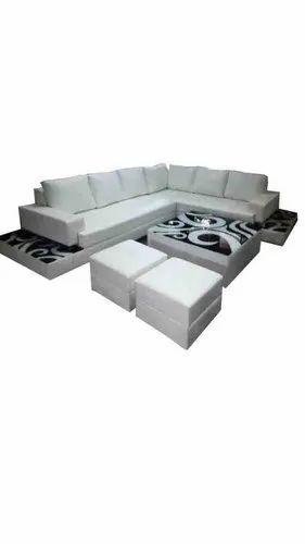 Open Furnitures White L Shape Sofa Set, Back Style: Cushion back, 4 Years