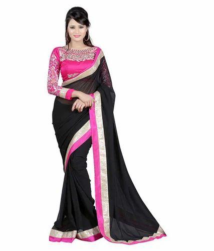 e7cf53c927 HALF-HALF GEORGETTE. Black, Blue & Grey. Bhabhiji Georgette Saree ...